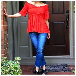 Tops - Dark coral gathered bell sleeves top